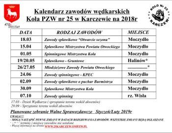 Kalendarz zawodów Wędkarskich 2018
