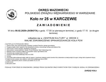 Uwaga ! Walne zebranie sprawozdawcze koła nr 25 Karczew